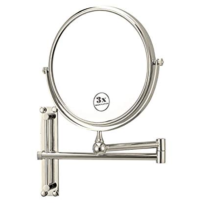 Nameeks AR7708-SNI-3x Glimmer Round Wall Mounted Double Face 3x Magnification Makeup Mirror, Satin Nickel