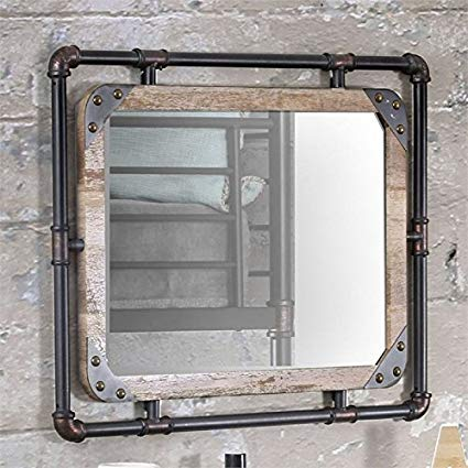 Furniture of America Bayra Wall Mirror in Natural and Black