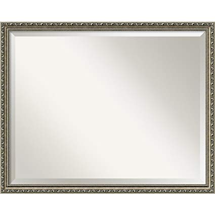 Amanti Art Wall Mirror Large, Parisian Silver Wood: Outer Size 30 x 24