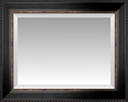 Ebony and Gold Bastion Beveled Wall Mirror, Size 36 X 30